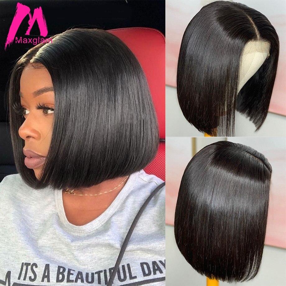 Straight Bob Wig Human Hair Wigs Brazilian for Women Remy 4X4 Closure Wigs Pre Plucked Natural Short Bob Wigs Lace Closure Wig
