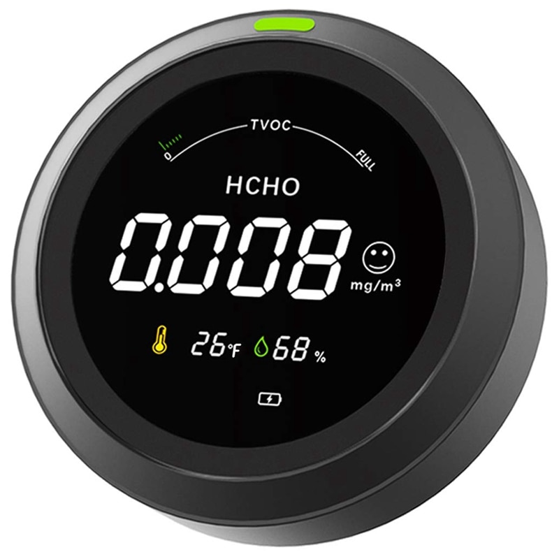 Air Quality Monitor, Air Quality Detector with Formaldehyde (HCHO)/TVOC Volatile Gas/Temperature and Humidity Testing