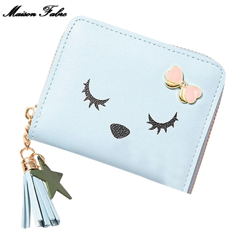 Maison Fabre moda para actividades al aire libre de cuero de bolsillo tendencia de Color sólido con flecos Cartera de tarjeta Simple tarjeta monedero bolsa