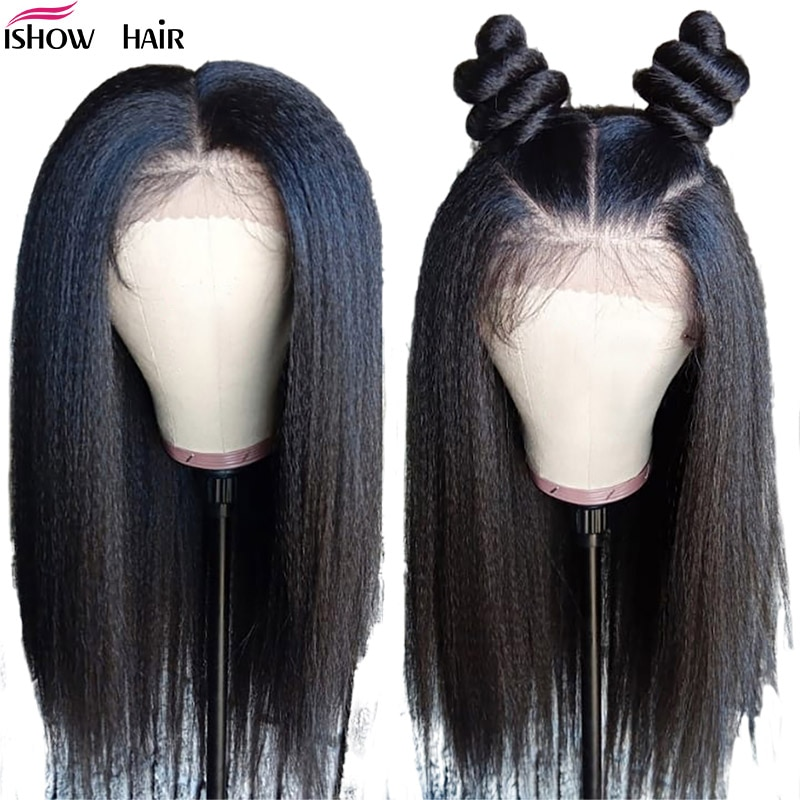 Ishow Yaki Straight Human Hair Wigs 13x6 Kinky Stright Lace Front Wig 150% 360 Lace Frontal Wig 180% Remy Yaki Human Hair Wig