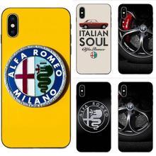 Coque TPU Supercar Alfa Romeo Logo pour Apple iPhone X XS Max XR 4 4S 5 5S SE 6 6S 7 8 Plus