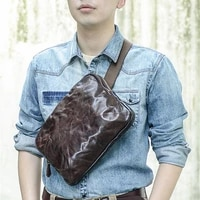 retro fashion designer natural real leather mens large capacity chest bag daily outdoor weekend multi function messenger bag