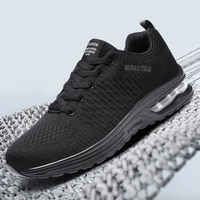 fashion mens running shoes breathable mesh damping air cushion sneakers outdoor training cycling men sports shoes black