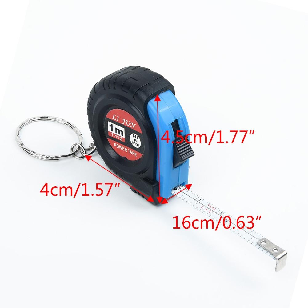 1xRetractable Lineal Maßband Schlüssel Kette Mini Tasche Größe Metric 4x 4,5x1,6 cm