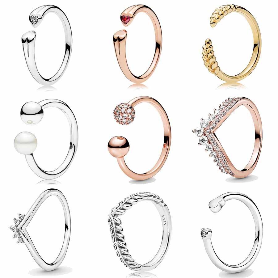 Coração a céu aberto tiara wishbone rosa princesa dois corações anéis abertos com cristal 925 prata esterlina anel europa jóias