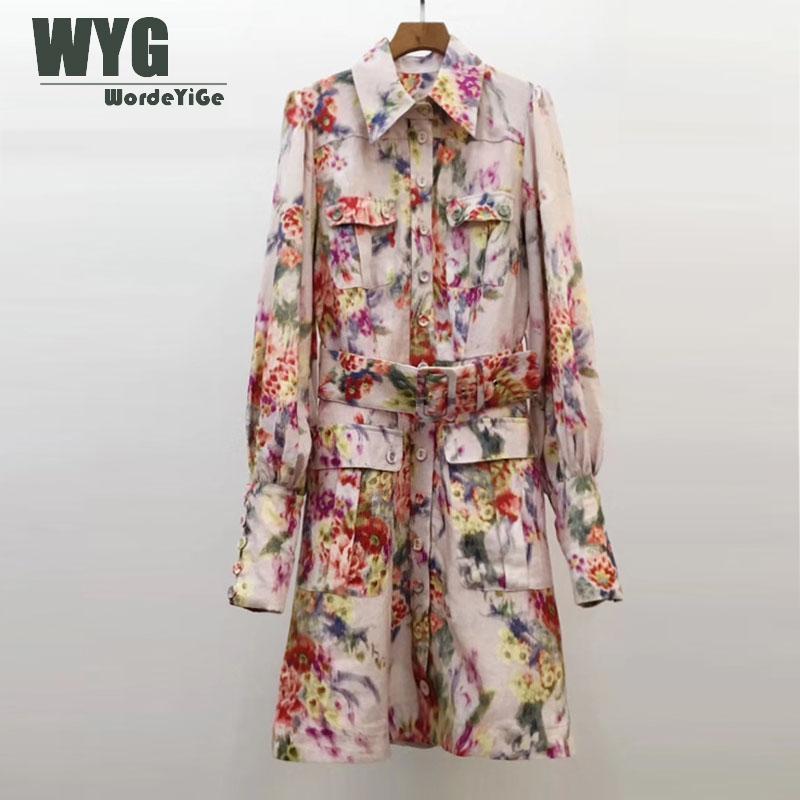 High Quality Hand Painting Dress 2020 Spring New Streetchic Blogger Style Lantern Sleeve Elegant Linen Dresses