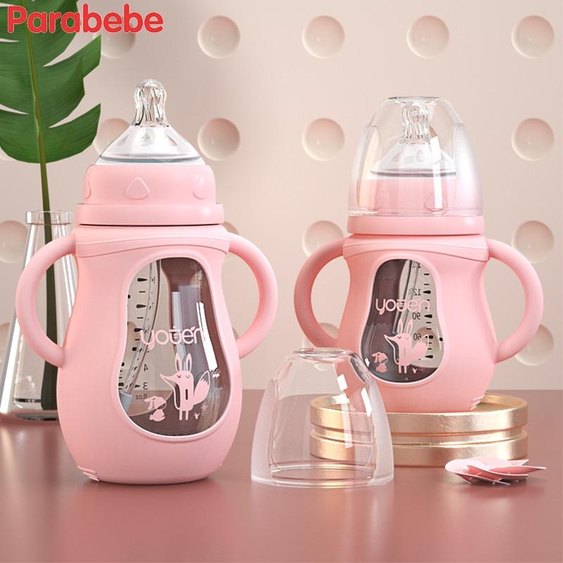 Cute Glass Baby Bottle Silicone Straw Water Drink Bottles For Baby Milk Feeder Set Baby Feeding Bottle Newborn Baby Bottle Spoon