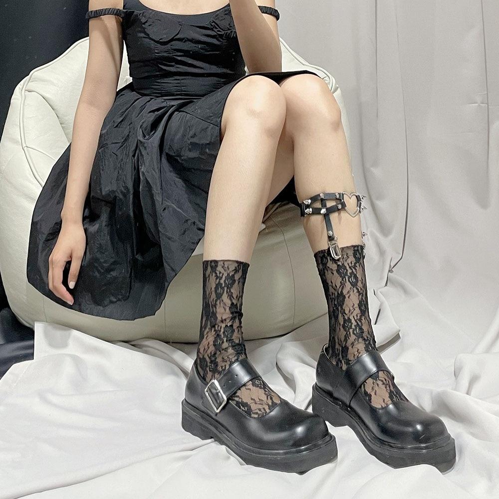 AliExpress - Fashion Floral Calf Socks Female Lolita Kawaii French Girl Lace Knee-length Sock French Girl Sweet Princess Loli Cute Sock Woman