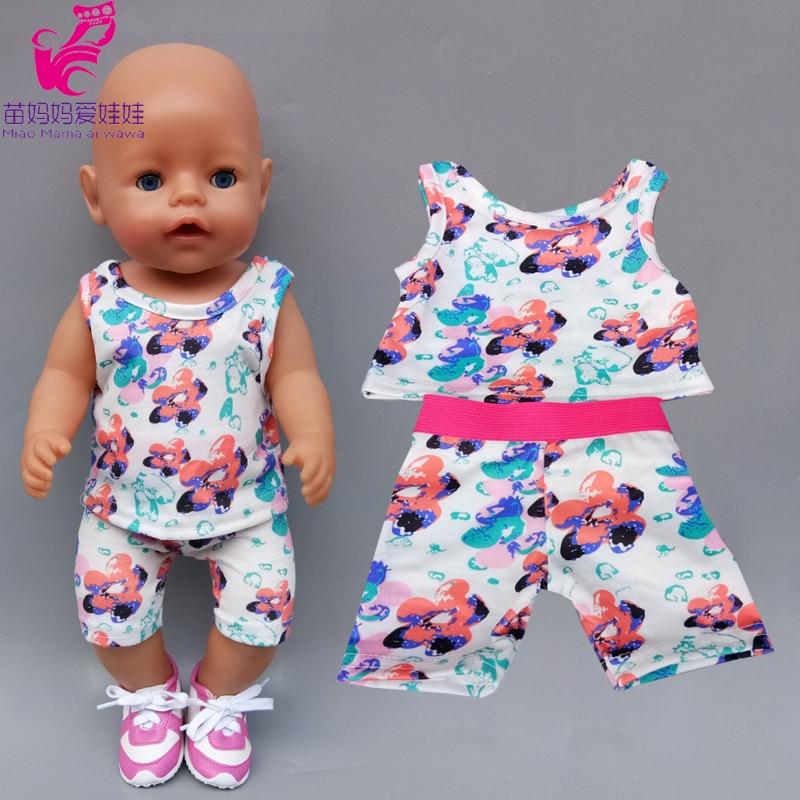 43cm 40cm bebê boneca verão colete calças 18 Polegada og menina boneca roupas camiseta e calças