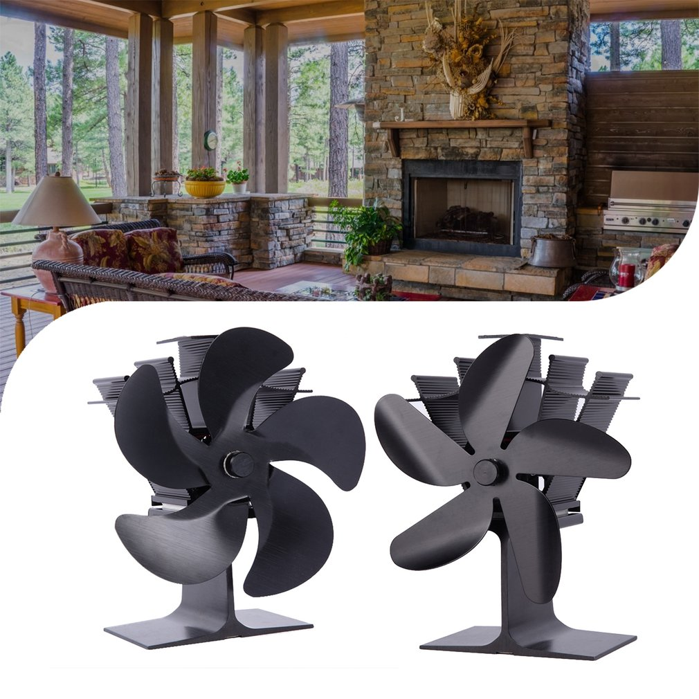 SF202G Thermal Power Fireplace Heater Five Blades Fireplace Heating Fan Efficient Air Heater Low Noise Fan