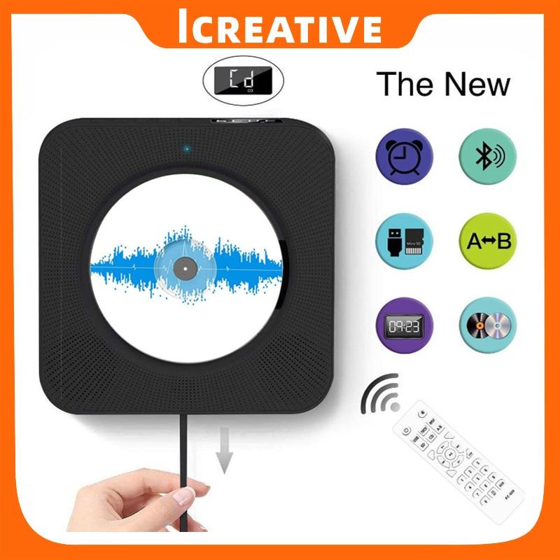 Icreative الحائط مشغل أقراص مضغوطة الصوت المحيطي راديو FM بلوتوث متوافق مشغل موسيقى MP3 التحكم عن بعد مكبر صوت ستيريو