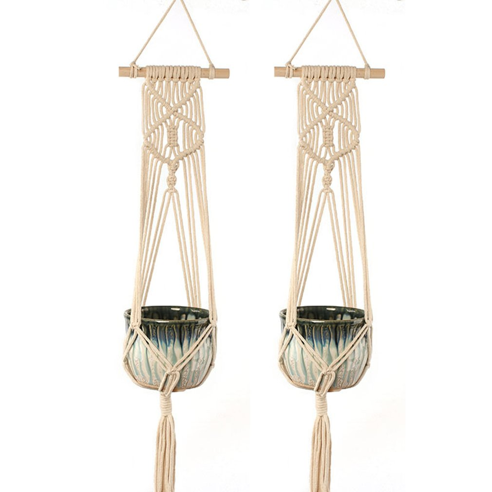 Beautiful Hemp Braided Rope Flower Pot Holder Macrame Plant Hanger Hanging Planter Basket for Home Decoration
