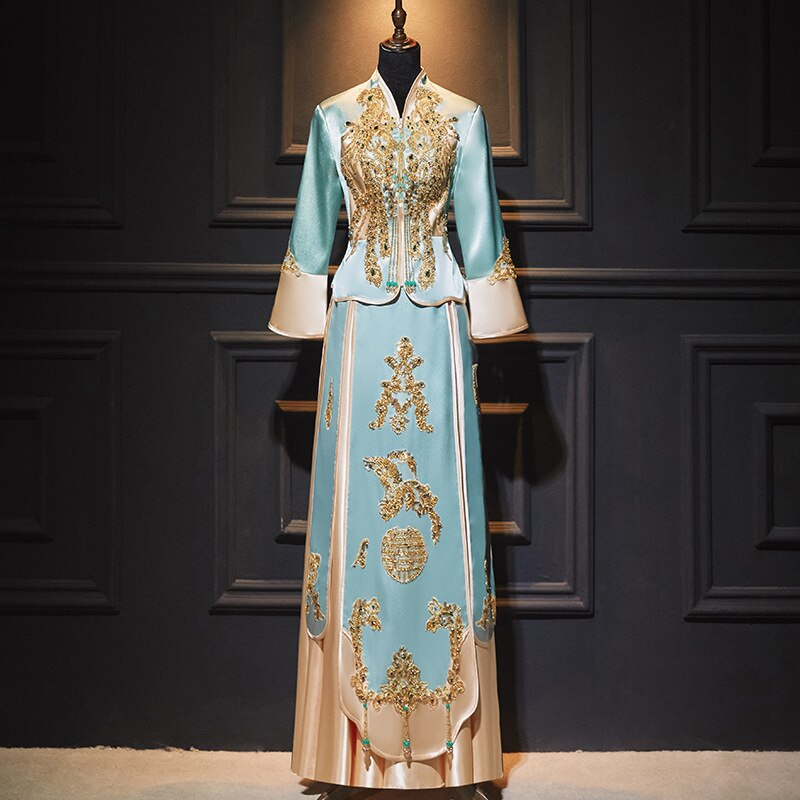 فستان زفاف صيني أزرق رائع ترتر مطرز بالخرز شيونغسام فستان تقليدي نسائي لحفلات الزفاف Qipao