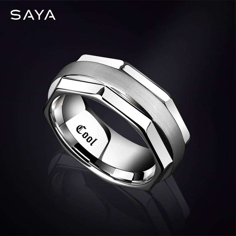 Tungsten Ring for Men, 8mm Width Brushed Finishing Ring for Wedding, Business, Customized, Free Shipping