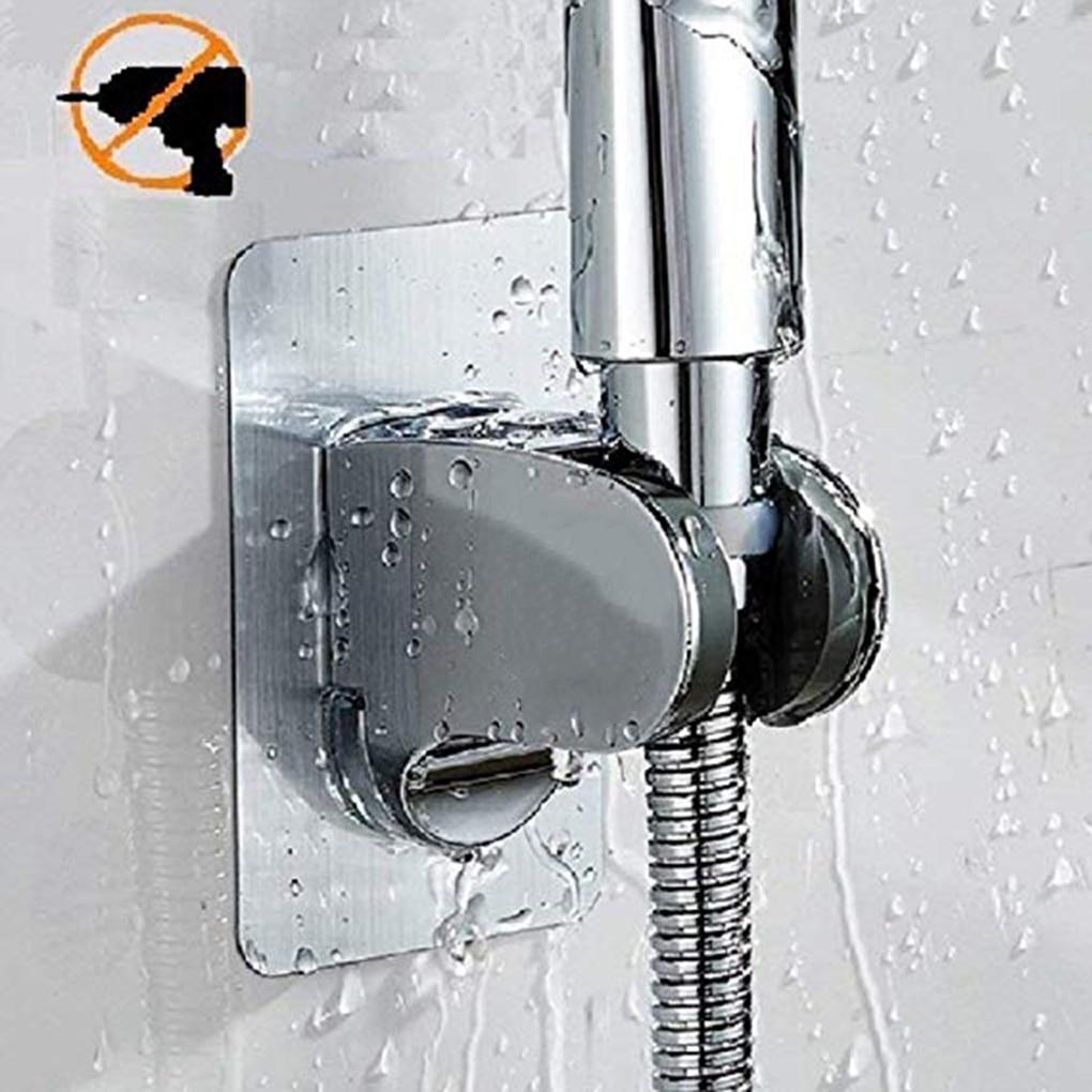 1pc Adjustable Polished Self-Adhesive Handheld Drill-Free Shower Head Holder Showerhead Rack Bracket