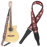 guitar strap jacquard weave double fabric flower pattern genuine leather ends with for acoustic electric guitar bass