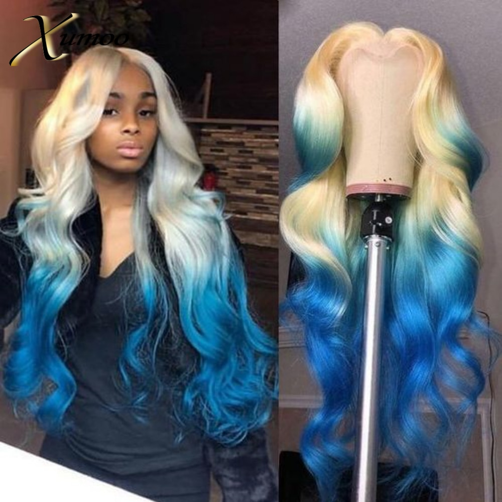 XUMOO Pre-plucked Cheap Remy Hair Body Wave Wig Human Hair BrazilianHair Lace Front Wig Blonde With Blue Wigs For Black Women