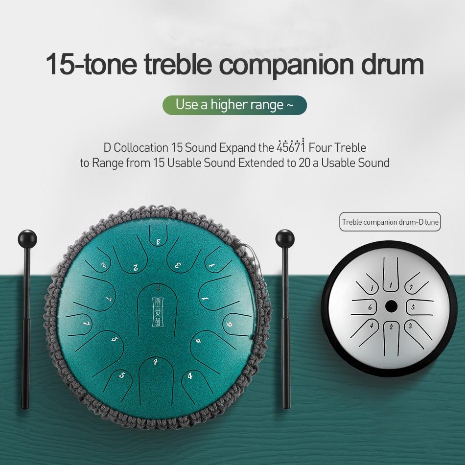 NEW Steel Tongue Drum 13 inch 15 tone Drum Handheld Tank Drum Percussion Instrument Yoga Meditation Beginner Music Lovers Gift enlarge