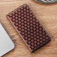 grid texture genuine leather phone case for motorola g3 g4 g5 g5s g6 g7 g8 plus play power eu flip stand phone cover
