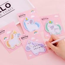 1 Pcs Unicorn Memo Sheets Kawaii Stationery Sticky Notes Planner Stickers Memo Pad School Supplies Post-it K1459 J