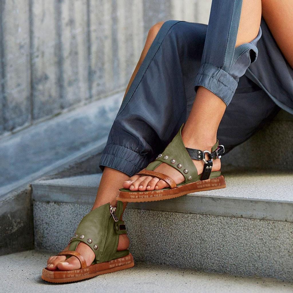 Zapatos Sandalias planas de mujer sandalias de verano informales moda de mujer sandalias romanas sandalias de cuña zapatos de plataforma de cuero Artificial