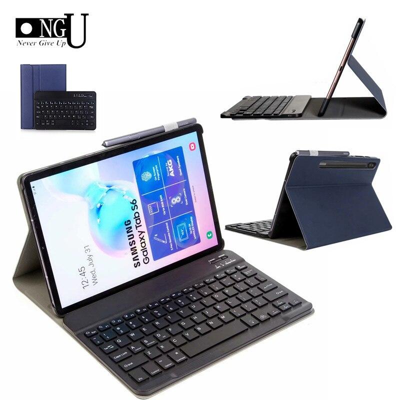 Clavier mince étui pour samsung Galaxy Tab S6 10.5 Cas T860 T865 SM-T860 Tablette Couverture Intelligente En Cuir Amovible Bluetooth Clavier