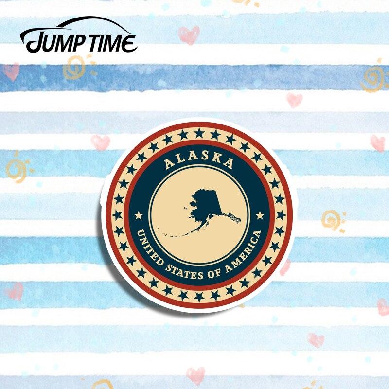 Pegatina de vinilo Jump Time 13cm x 13cm Alaska USA Etiqueta de equipaje de viaje para iPad y portátil Etiqueta de decoración de ventana parachoques impermeable