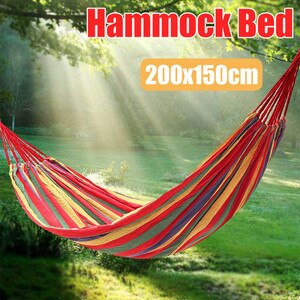 200x150CM 2 Persons Striped Hammock Outdoor Leisure Bed Hanging BedThickened Canvas Sleeping Swing Hammock For Camping Hunting