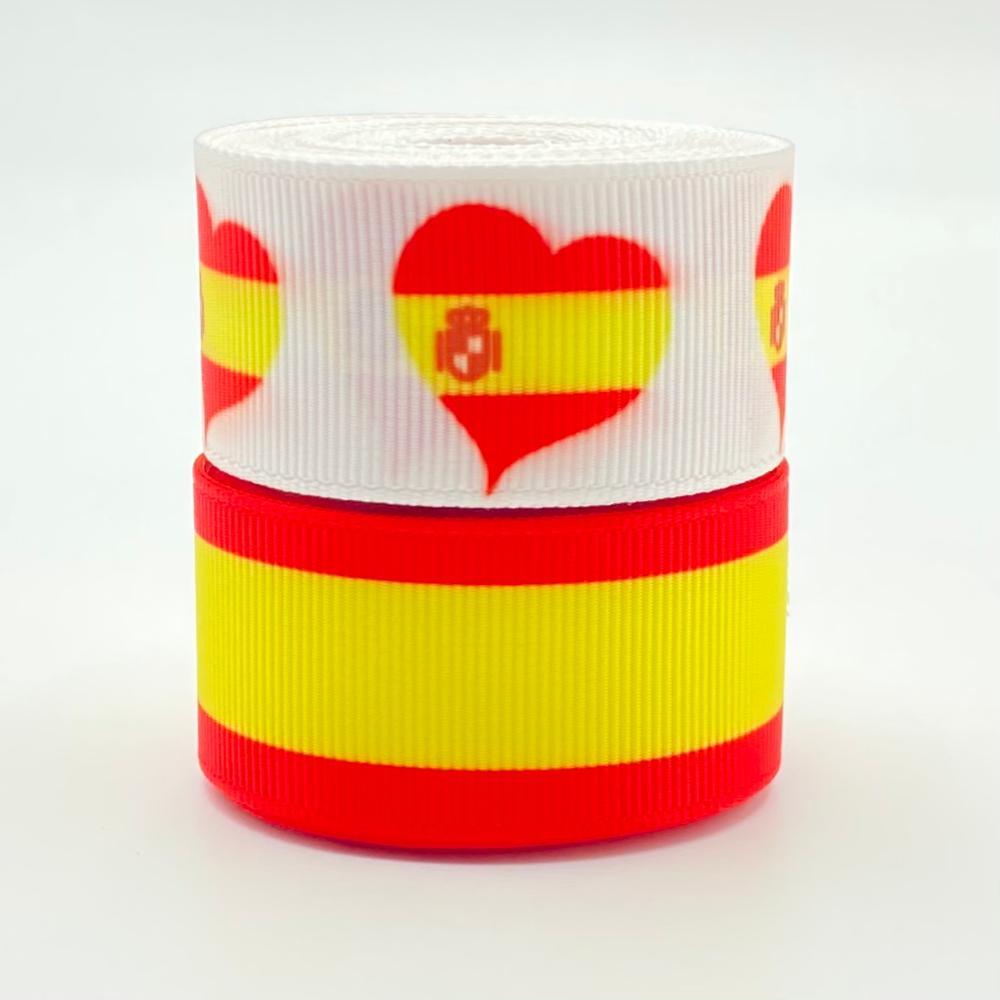 25mm España Cinta decorativa España Bandera de rayas Cinta de Grosgrain estampada...