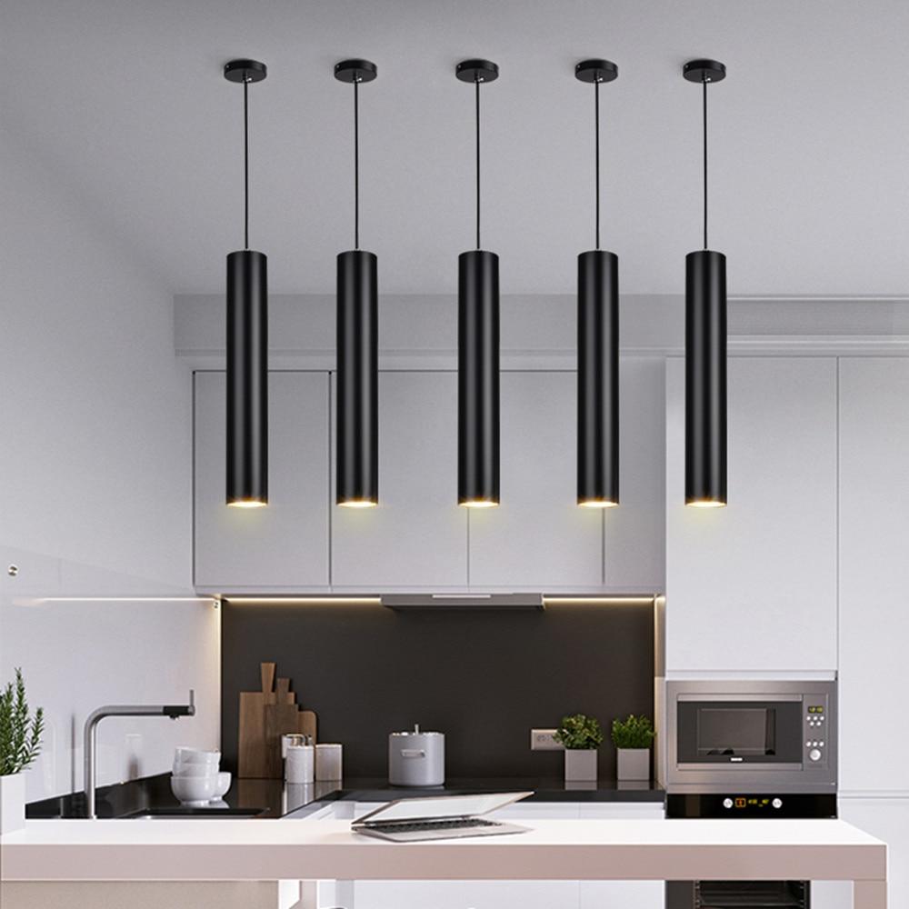 Led Hanging Lamp Long Kitchen Island Tube lamp  Dining Room Shop Bar Decoration Cylinder Pipe Black Kitchen Lamp Pendant Light