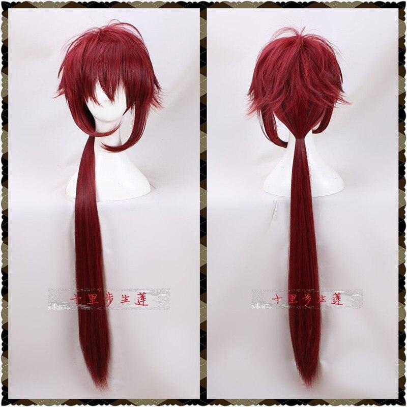 DOLiSH7 peluca Cosplay DOLiSH7 gatillo de juego Re vale IZUMI MITSUKI Cosplay peluca Nanase Riku vino rojo peluca larga pelo sintético 90cm