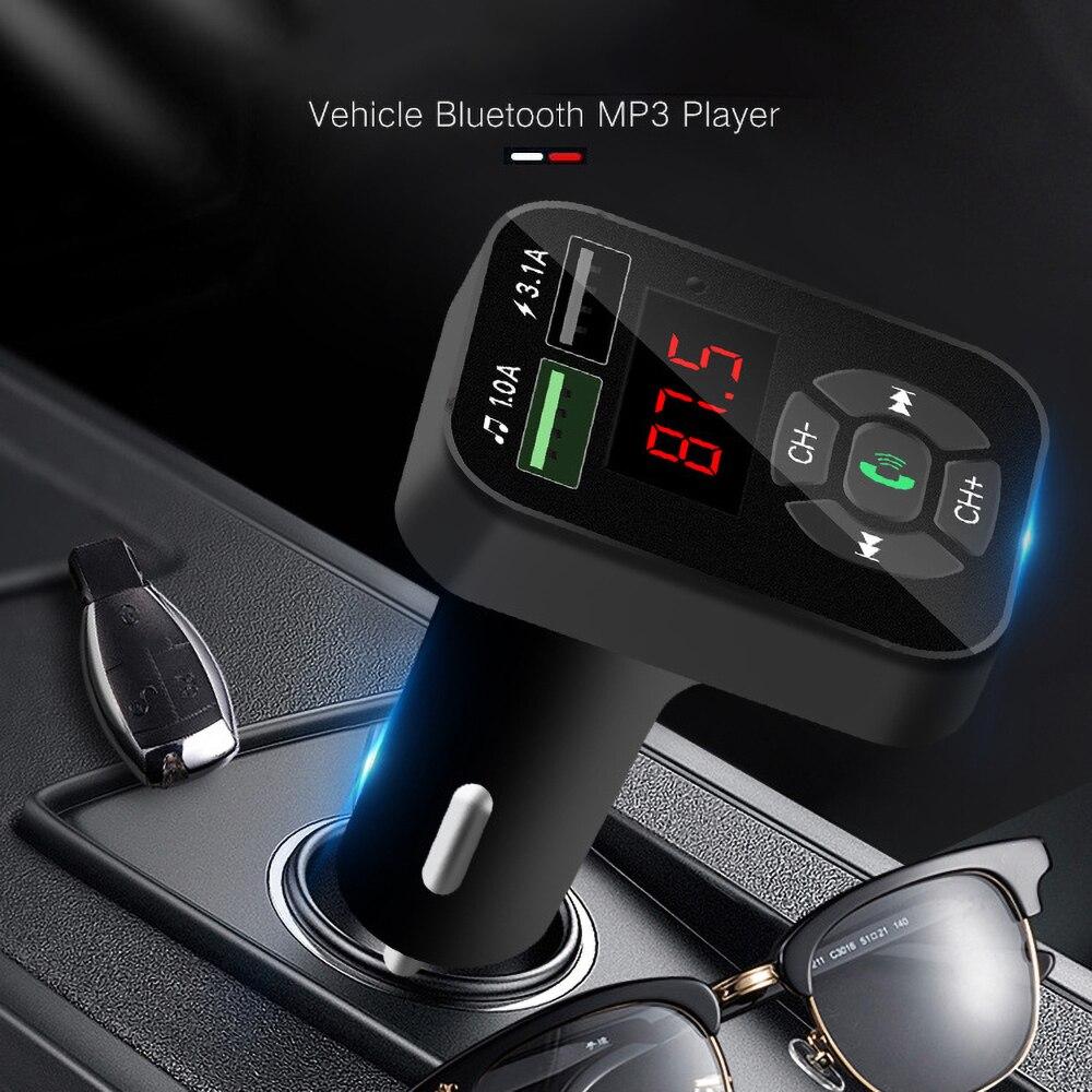 Bluetooth tf 32g u disk music play fm transmissor carro mp3 player acessório duplo usb carregador de telefone móvel fm rádio receptor áudio