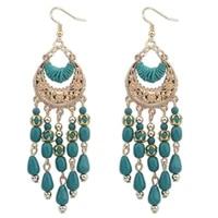 2020 ethnic style earrings women european and american elegant hand made water drop tassel earrings bohemian crescent earrings
