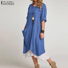 Plus Size Women Long Shirts Dress 2020 Spring Casual Solid Beach Party Vestidos Baggy Pockets Cotton Sundress Kaftan Robe 5XL