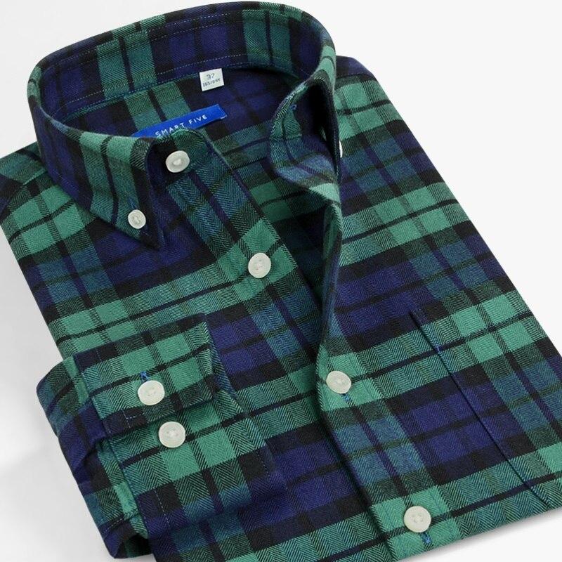 Smart five franela Hombre Camisas Casual para de manga larga verde oscuro Camisa de cuadros hombres ropa ajustada tamaño grande 44 45 46