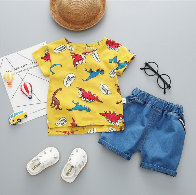 Bibicola niños Bebés Ropa de verano recién nacido niños conjuntos de ropa para niño camisas de manga corta + Pantalones vaqueros tejano popular traje de pantalones cortos