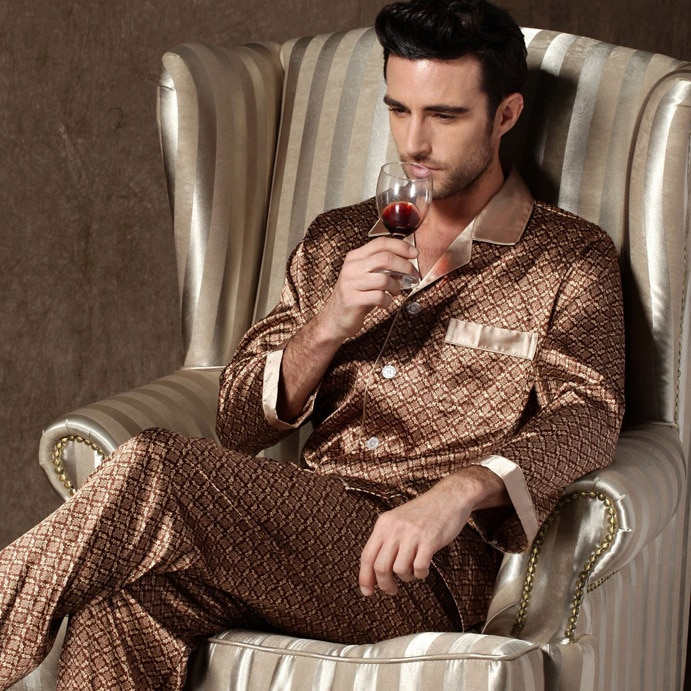 Пижама комплект имитация шелк пижамы мужские уютные мягкие длинные рукава ночная рубашка топы брюки два предмета одежда для сна комплект пижамы дом одежда