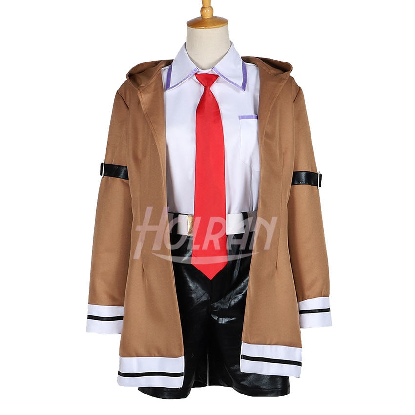 Ciencia ficción anime Steins; Puerta papel Makise Kurisu cosplay traje uniforme de Christina camisa corbata cinturón abrigo corto traje de Halloween