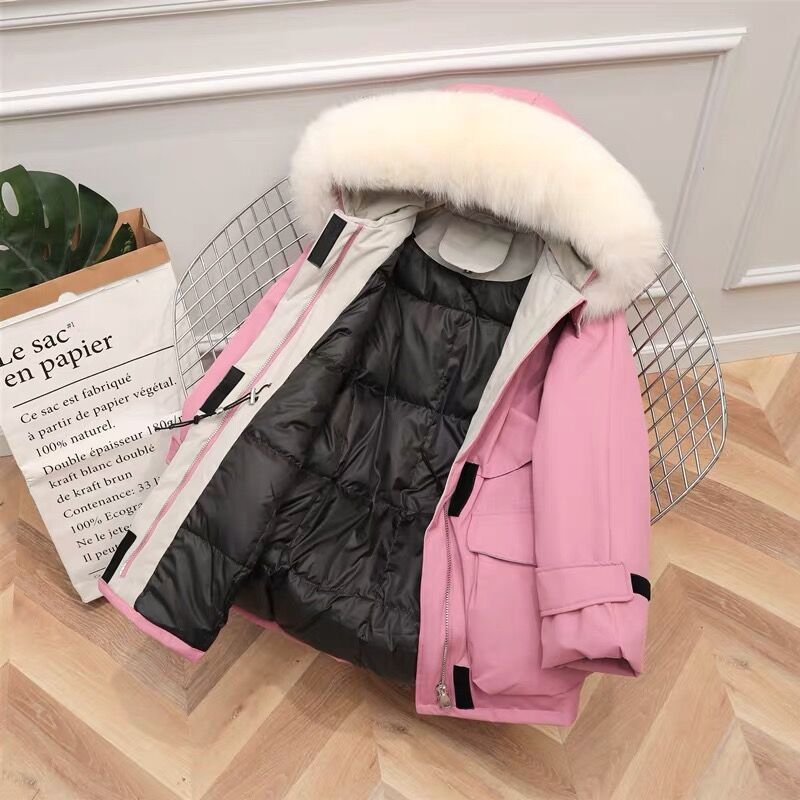 Large Natural Raccoon Fox Fur Hooded Winter Down Coat Women 90% White Duck Down Jacket Thick Warm Parkas Female Outerwear coat