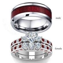 2019 جديد براون الأحمر الفولاذ المقاوم للصدأ حجر الراين زوجين خاتم الإكسسوار مجوهرات خاتم الزواج هدية عيد الحب