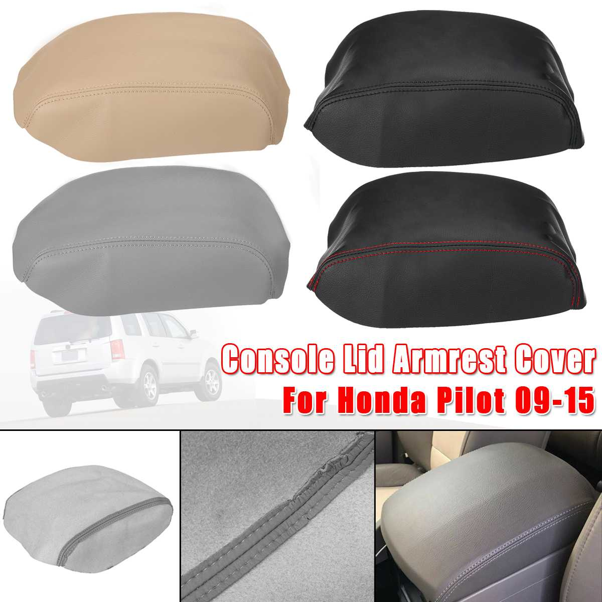 Car Microfiber Armrest Cover Center Console Lid Armrest Cover Pad For Honda for Pilot 2009 2010 2011 2012 2013 2014 2015 Black