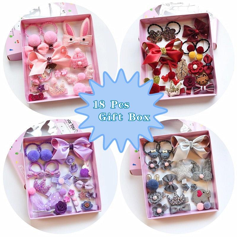 18 unids/set Caja de Regalos horquilla de moda para chico diadema regalo Cintas de Pelo para niña diademas de pelo accesorios de pelo