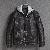 yrfree shipping classic motor biker genuine leather jacket quality tanning sheepskin coat vintage plus size jacket fashion