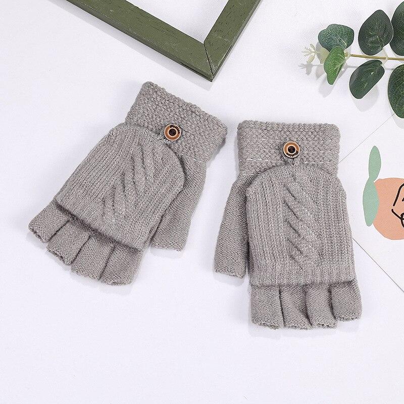Вязаные перчатки Show Finger, плотные зимние перчатки с откидной крышкой, зимние модные перчатки без пальцев, зимние перчатки, женские перчатки