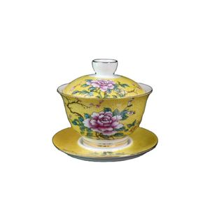 Chinese Old Porcelain Cover Bowl With Yellow Ground And Pastel Floral Pattern Chinese Tea Bowl