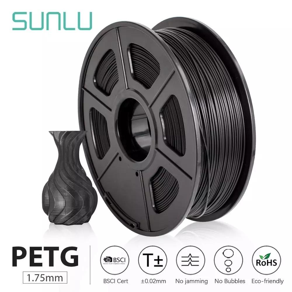 SUNLU PETG 3D Printer Filament 1.75mm Dooling Gift Material Hot Sale Black Color PETG 3D Filament Co