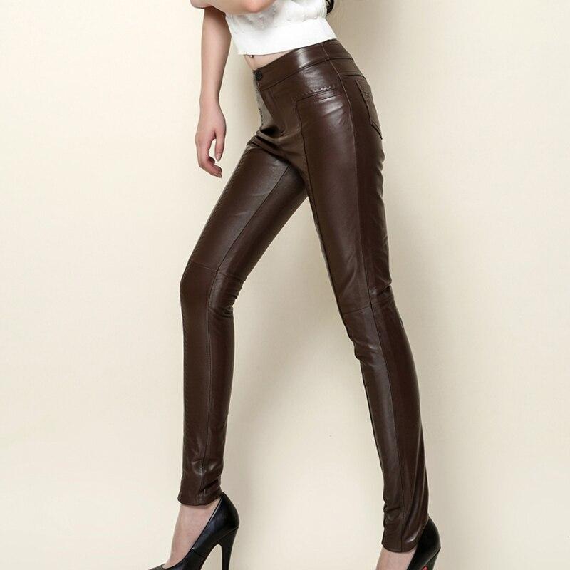Genuine Leather Pants Ladies' Full Length Sheepskin Slim Solid Pants Women's Brand Clothing Quality Soft Sheepskin Pencil Pants