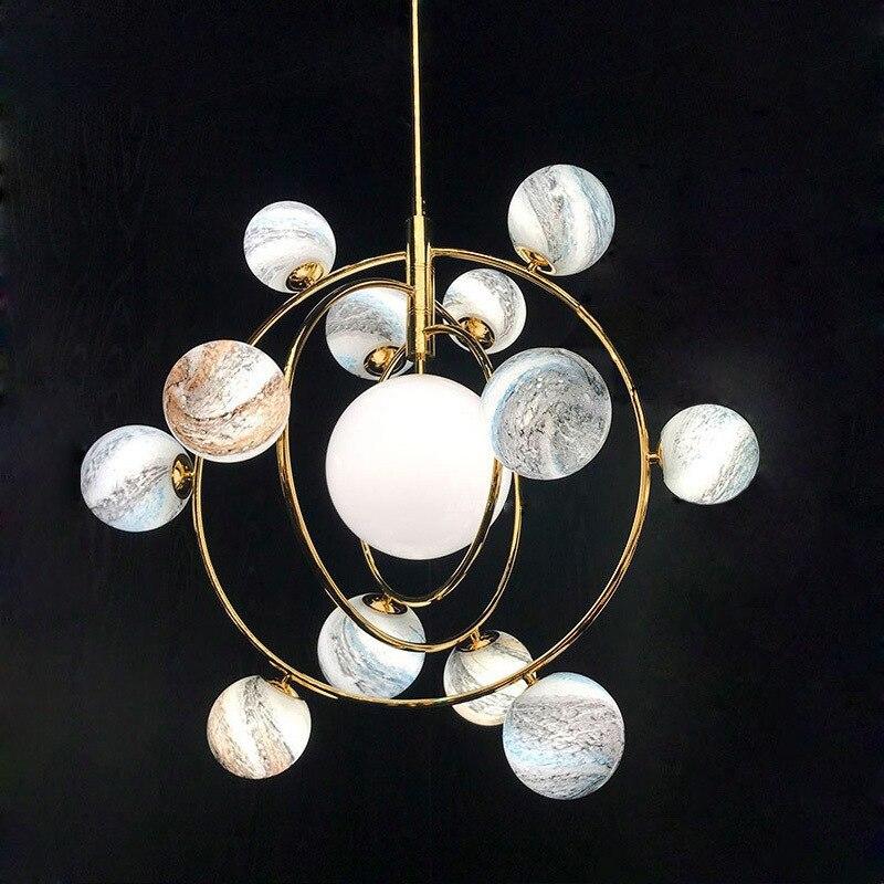 Candelabro de habitación con forma de tierra y universo de vidrio redondo moderno y novedoso, creativo, romántico, con planeta, sala de estar, candelabro de habitación