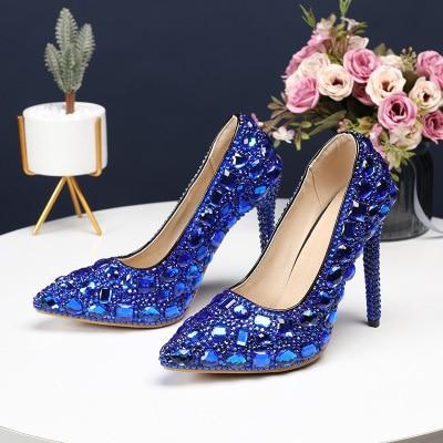 2019 HOT 11CM sapatos de Noiva Sapatos de Casamento Sapatos Bombas de Salto Alto Sapatos de Strass Bombas Princesa Nightclu Mostrar Magro Feminino Das Mulheres bombas