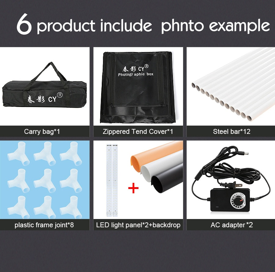 70cm LED CY Photo Studio Softbox Light Tent Soft Box fotostudio Dimmable photo light box for Phone Camera DSLR Jewelry Toy Shoes enlarge
